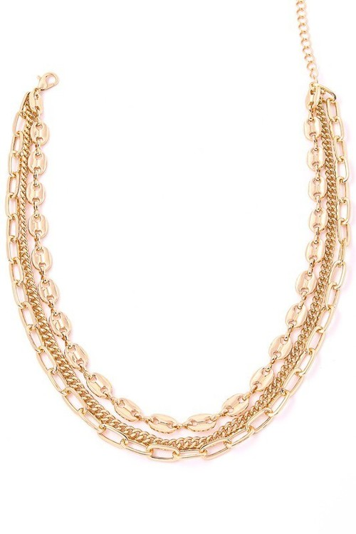 Layered Mix Chain Link Necklace Gold
