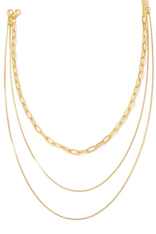 Layered Paperclip Multi Chain Necklace Gold