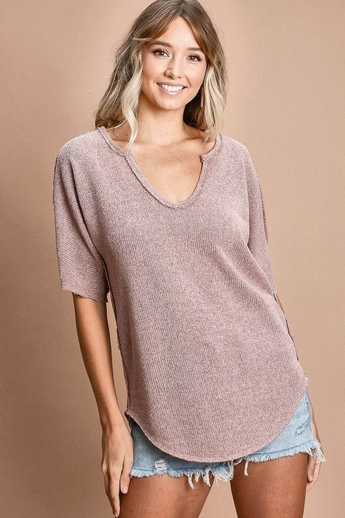 Loose Fit Sweater Top W/ Stitching Contrast Blush