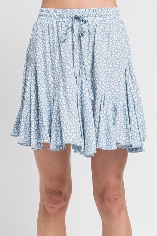 Animal Print Skirt Blue