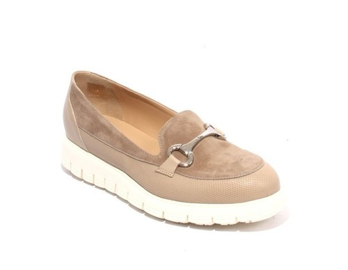 Beige / White Leather / Suede Platform Shoes