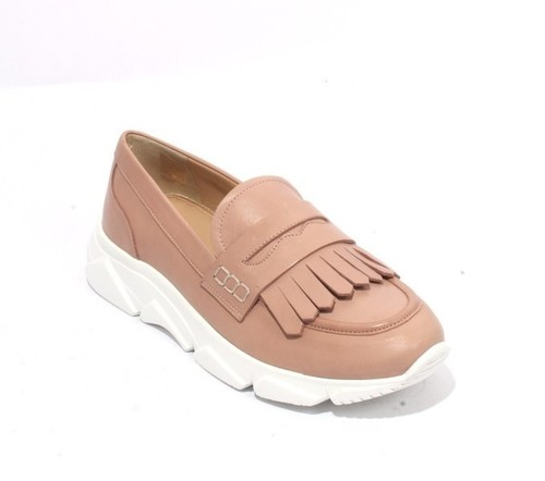 Beige White Leather Platform Fringe Moccasins Shoes