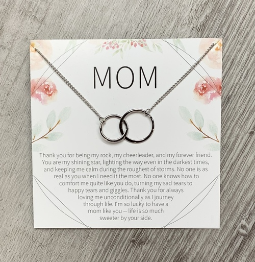 Mom Circle Necklace Silver