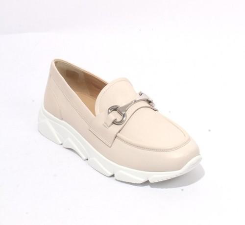 Light Beige Leather Buckle Platform Moccasins Shoes