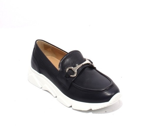 Navy White Leather Buckle Platform Moccasins Shoes