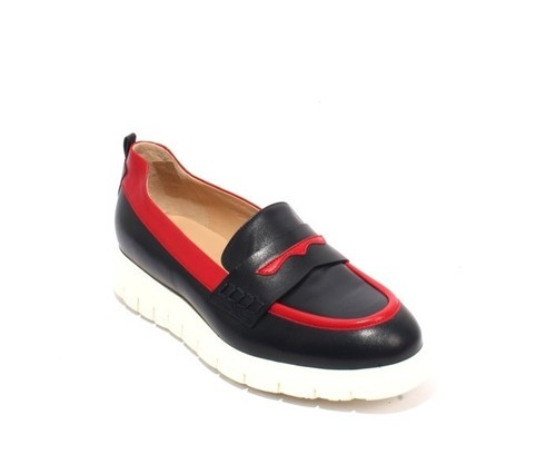 Navy / Red / White Leather Platform Shoes