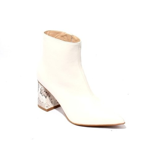 Off White Leather Pointy Zip Ankle Heel Boots