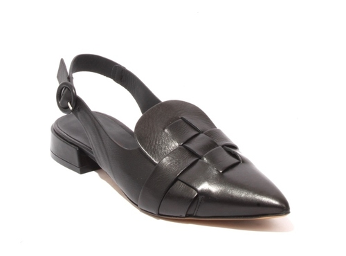Black Leather Pointy Slingback Shoes