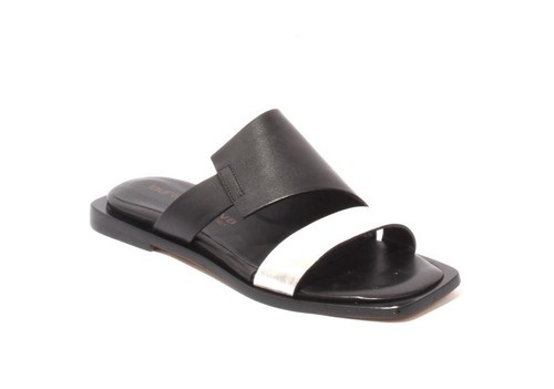 Black Metallic Silver Leather Slides Sandals