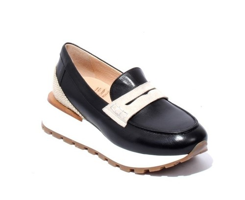 Black Leather Suede Loafers Platform Shoes