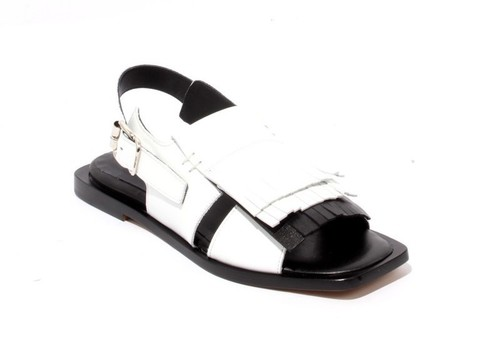 White Black Leather Buckle Fringe Sandals
