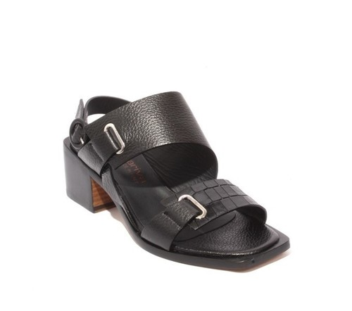 Black Leather Heel Strappy Sandals