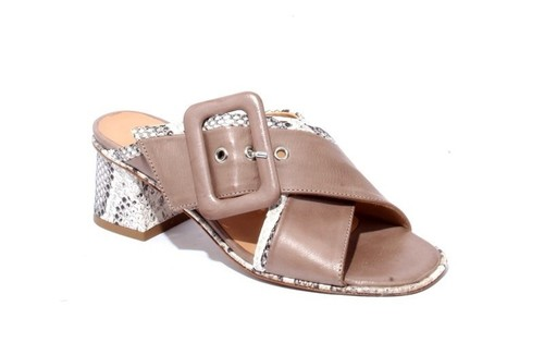 Brown Leather Buckle Heel Strap Sandals