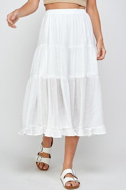 Tiered Midi Skirt White