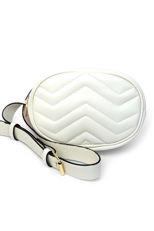 Quilted Fanny Pack Waist Belt White
