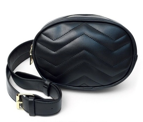 Quilted Fanny Pack Waist Belt Black
