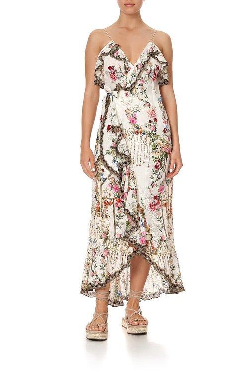 Long Wrap Dress w/ Frill