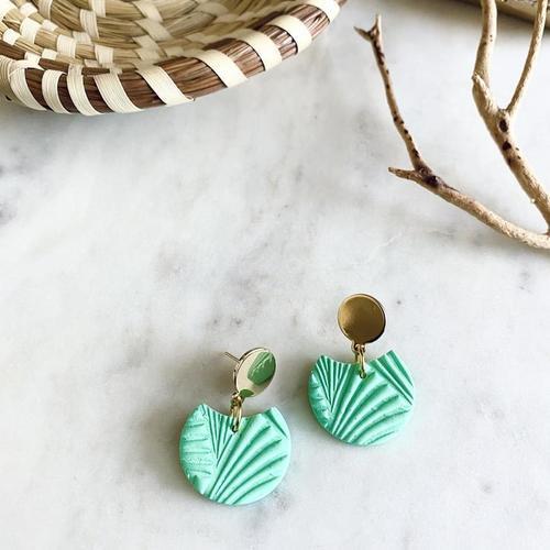 Textured Birdie Mint Earrings