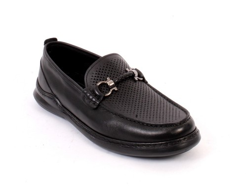 Black Leather Moccasins Loafers Shoes