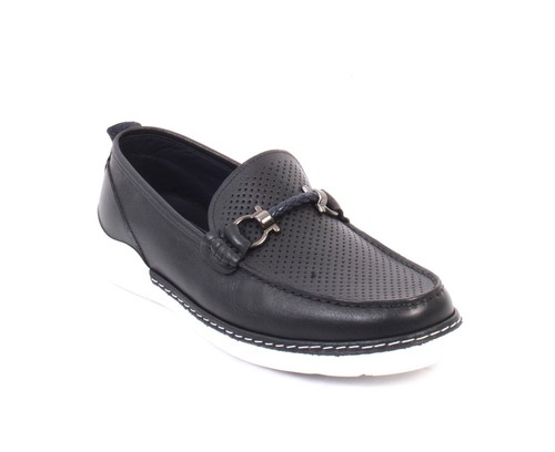 Navy White / Leather Moccasins Loafers Shoes