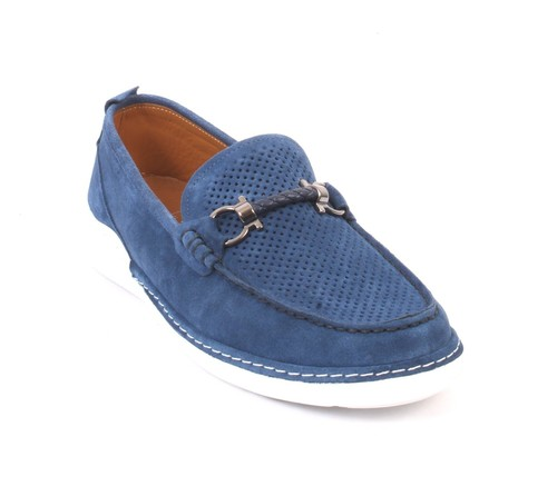 Blue Suede Leather Moccasins Loafers Shoes