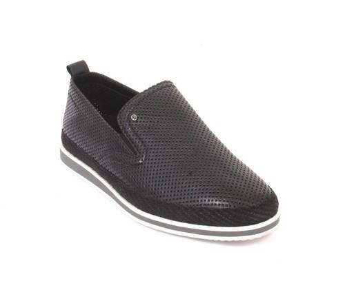 Black Leather Slip-On Moccasins Loafer Shoes