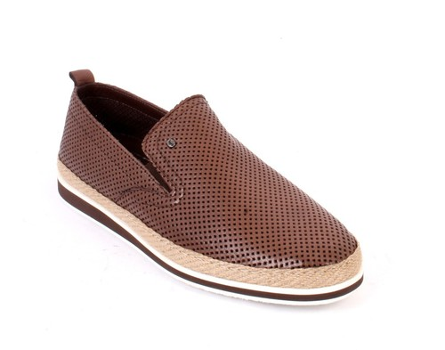Brown Leather Slip-On Moccasins Loafer Shoes