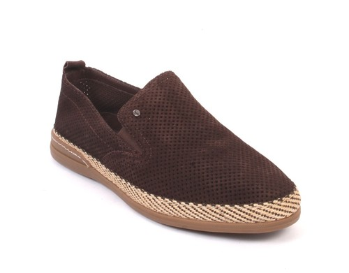 Brown Suede Leather Slip-On Moccasins Shoes