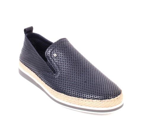 Navy Leather Slip-On Moccasins Loafer Shoes