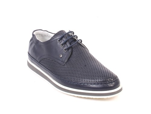 Navy Perforated Leather Lace-Up Shoes