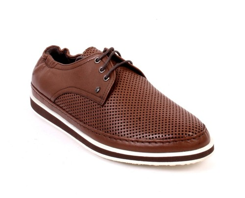 Brown Perforated Leather Lace-Up Shoes