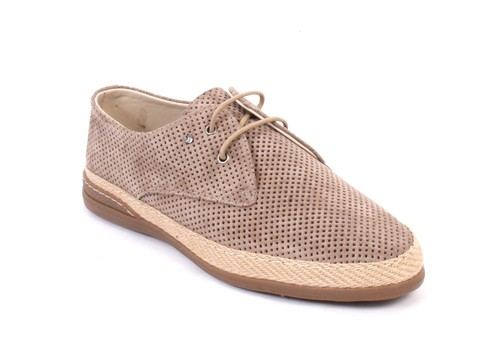 Beige Perforated Suede Leather Lace-Up Shoes
