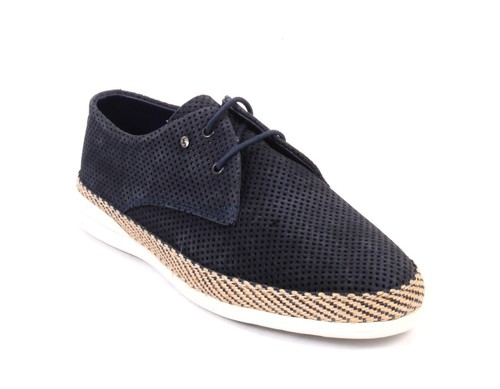 Navy Perforated Suede Leather Lace-Up Shoes