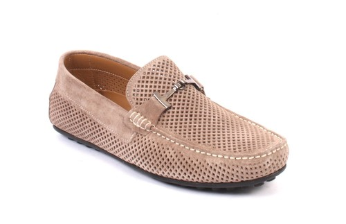 Beige Suede Leather Moccasins Loafers Shoes
