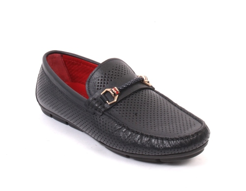 Navy Perforated Leather Moccasins Loafers