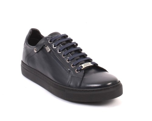 Navy Leather Lace-Up Zip-Up Sneakers Shoes