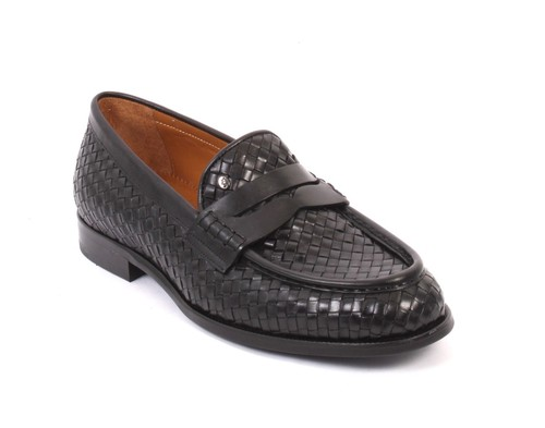 Black Woven Leather Loafers Shoes