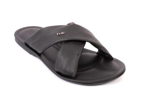 Black Leather Comfort Slides Men Sandals
