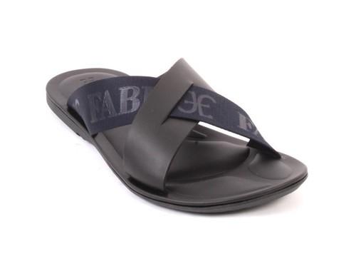 Black Navy / Leather Fabric / Slides Men Sandals