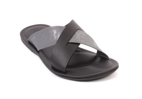 Black Blue / Leather Fabric / Slides Men Sandals