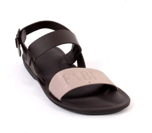 Brown Gray Leather Fabric Slingback Slide Buckle Men Sandal