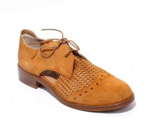 Light Brown Suede Leather Round Toe Lace-Up Shoes