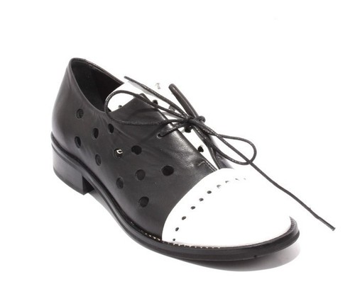 Black White Leather Round Toe Lace-Up Booties Shoes