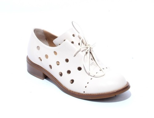 Beige Leather Round Toe Lace-Up Booties Shoes