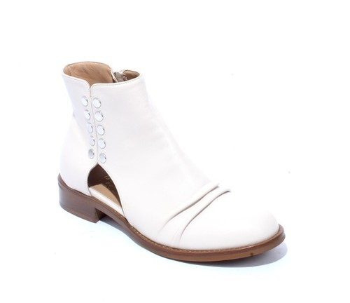 Beige Leather Round Toe Studded Zip-Up Booties