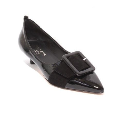 Black Patent Leather Suede Buckle Pointy Classic Pump