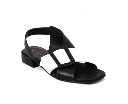 Black White Leather Slingbacks Comfort Sandals