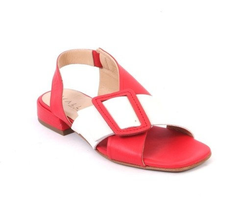 Red White Leather Slingbacks Comfort Sandals