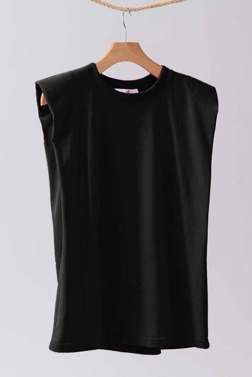Padded Shoulder Sleeveless Solid Top Black