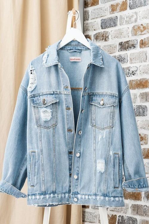 Distressed Denim Button Down Jacket Light Blue